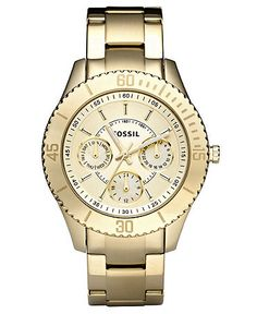 Fossil Watch, Women's Stella Gold Ion Plated Stainless Steel Bracelet 37mm ES2820  $125.00
