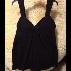 Bra Top Black bra tank with tie knot in center front Victoria's Secret Tops