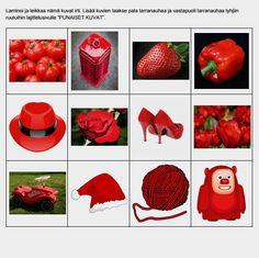 Lajittelutehtävät auttavat mm. havaitsemaan eroja samankaltaisissa kuvissa ja muodoissa sekä ymmärtämään että samaa tarkoittava asia voi näyttäytyä monella eri tavalla. Strawberry, Fruit, Vegetables, Math, Color, Math Resources, Colour, Strawberry Fruit, Vegetable Recipes