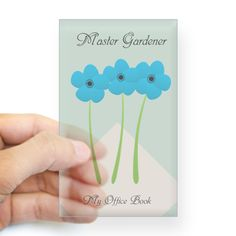 Master Gardener Florist Nature Hobby Sticker, editable text, for personalized gift. #anemone #blue