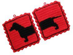 Dachshund Dog Pot Holders  Red crochet potholders by hooknsaw, $17.20
