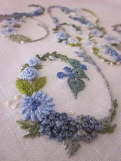 Elizabetta Hand Embroidery from Inspriations in blue.