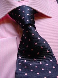 Pink thin stripe with navy blue pin dot tie.