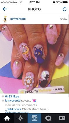 Nails, Nail Art, Nail Design, Japanese Nail Art, Kawaii, Manicure, Sailor Moon, Luna, Tuxedo Kamen, Tuxedo Mask, Crescent Moon Wand, Rhinestones, Crystals, Opal, Heart Stud, Gold Studs, Marble, Pink, Purple, White, Iridescent, Red