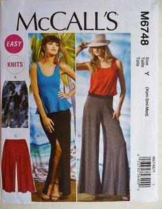 Wide Leg Pants Pattern, Long Skirt Pattern, Gauchos Pattern, Sz 4 to 14, McCall's 6748 sewing pattern