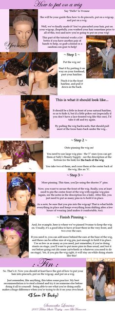 Tutorial: How to put on a wig by `taeliac on deviantART