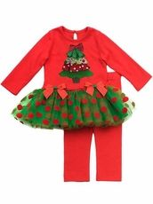Rare Editions Christmas Tree Holiday Tutu Outfit