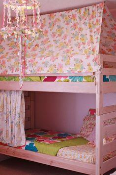 Adding a tee-pee to a top bunk! Fun idea! So cute!!