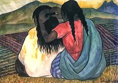 Reproduction of a painting by Diego Rivera showing 2 mexican indian women combing their hair. Diego Rivera Art, Diego Rivera Frida Kahlo, Frida And Diego, Mexican Artists, Tile Art, Tiles, Museum Of Modern Art, Hair Art, Famous Artists