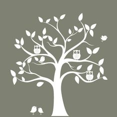 nursery wall decal tree - tree silhouette with Owls & birds - wall sticker. $135,00, via Etsy.