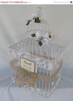 On Sale Wedding Card Holder Bird Cage / Card box / White / Burlap / Bling / Birdcage Card Holder. $58.90, via Etsy.