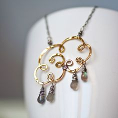 Gold Cloud - Brass Wire and Labradorite Teardrops Pendant
