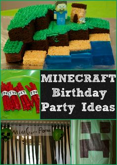Minecraft Birthday Party Ideas. Minecraft Cake, Minecraft Food, Minecraft Decorations and more.  These minecraft partyideas are easy and very inexpensive.