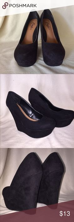 """5"""" Black Faux Suede Platform Wedges Worn them only twice. Super cute and very comfortable! Great to wear with dresses or even jeans. They have a couple of scuffs on the tips (pictured above) but when worn they're hardly noticeable (: Candie's Shoes Platforms"""