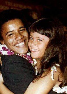 Brotherly Love ~ Barack gives his 1/2 Sister, Maya, a hug :)