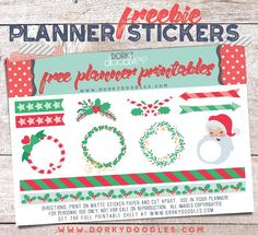 Free Printable Christmas Frames Planner Stickers from Dorky Doodles