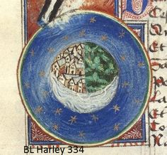 T-O Earth inside a sphere of stars - 2nd quarter of the 15th century France - BL Harley 334 - Gautier de Metz l'Image du Monde.