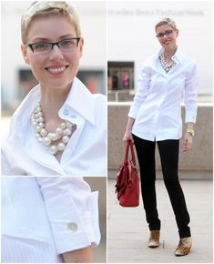 Fashion Week Day Classic White and Pearls I love the simplicity of this outfit and I must buy myself some large (fake) pearls some day. Fashion Over 50, Work Fashion, Fashion Looks, College Fashion, Fashion 2018, Style Fashion, Fashion Trends, Classy Outfits, Casual Outfits