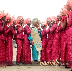 The wine and peach #asoebi look www.bolakoka.com created for Safiat's friends #africanfashion #events