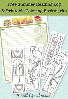 Free Printable Summer Reading Log and Printable Bookmarks to Color Summer reading is fun! This post has a free printable summer reading log and printable bookmarks to color that are summer-themed. There are also more ideas for summer reading fun. Reading Bookmarks, Bookmarks Kids, Reading Logs, Kids Reading, Reading Lessons, Reading Activities, Guided Reading, Reading Log Printable, Free Printable Bookmarks