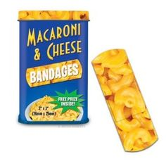 Macaroni & Cheese Bandages Novelty Gag Band Aids  by Accoutrements:   List Price:	$5.99  Amazon Price:	$5.80