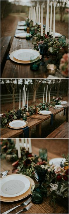 Wedding reception design, long wooden table, tall white candlesticks, gold chargers, colorful glassware, peach and red florals, dark romance // Moriah Elisabeth Photography