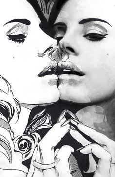 Art Print // Lana del Rey Spiegel von D.N.Mai Creative Works auf DaWanda.com