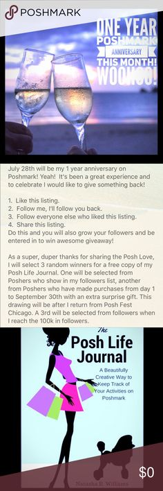 """Anniversary Special Giveaway (Details inside) Like Follow Share Celebrate! Hey PFFs July 28th will be my 1 year anniversary on Poshmark! Yeah!  It's been a great experience and to celebrate I would like to give something back!  1.  Like this listing.  2.  Follow me, I'll follow you back.  3.  Follow everyone else who liked this listing.  4.  Share this listing. Comment """"I'm in"""" Do this and be entered in to win an awesome giveaway!  See 2nd pic for details.   Thank you so much for the Posh…"""
