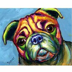 Pug Dog Art Signed Print Painting by Dottie Dracos by DottieDracos, $12.00