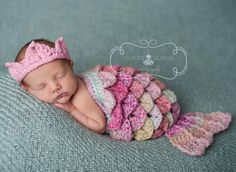 Too Cute!  Newborn Mermaid Cape Set