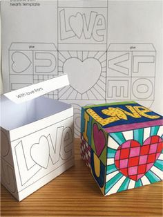 Pop Art Hearts Doodle Gift Box Craftivity for Mother's Day