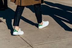 Pinstripe pants, white Stan smith sneakers