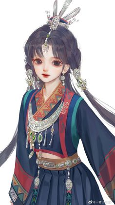 Pretty Drawings, Cool Art Drawings, Anime Child, Anime Art Girl, Cute Anime Character, Character Art, Anime Black Hair, Anime Korea, Digital Art Anime