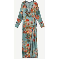 PRINTED KIMONO DRESS - OUTERWEAR-WOMAN-SALE | ZARA United States (€13) ❤ liked on Polyvore featuring dresses, green kimono, green dress, green color dress, green kimono dress and kimono dress
