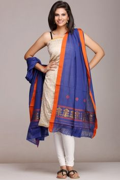 Soothing #blue #dupatta with #orange & gold border on www.indiainmybag.com/the-maku-brahmaputra-looms.html