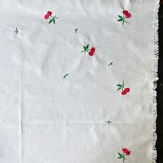 (1) Vintage Embroidered Cherries Tablecloth 35x36 – In The Vintage Kitchen Shop Kitchen Shop, Functional Kitchen, Cafe Curtains, Kitchen Linens, Cherries, Vintage Kitchen, Picnic Blanket, Repurposed, Christopher Columbus