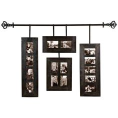 Handing photo frames. This could be done with a curtain rod.