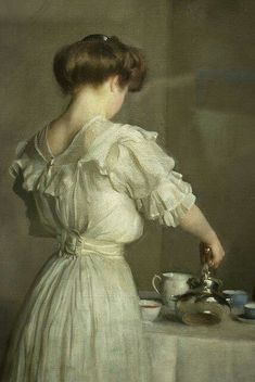 William Mc Gregor Paxton (1869 - 1941), Leaves, detail