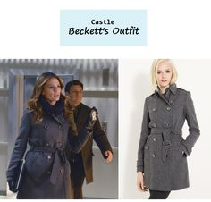 "On the blog: Kate Beckett's (Stana Katic) gray double breasted wool cashmere coat | Castle - ""Room 147"" (616) #tvstyle #tvfashion #outfits #fashion #stylishcop"