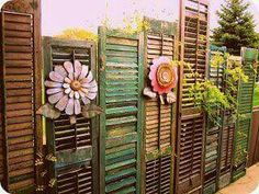Shutters reused as a fence