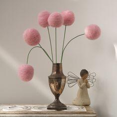 Wool Pom Pom Flowers, felt Craspedia Billy Button Ball Bloom home decor Blushing Pink handmade pompom wedding bouquet decoration large. $40.00, via Etsy.