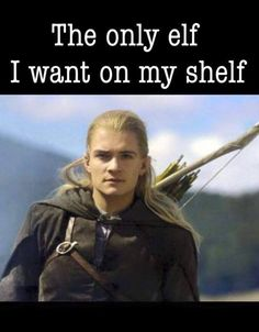 The only Elf I want on my shelf! Legolas from LOTR. Holiday Meme, J. R. R. Tolkien, Tolkien Books, Funny Memes, Hilarious, Elf Memes, Funny Quotes, Humor Quotes, O Hobbit
