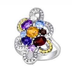 On Sale for 60% OFF - 14k Gold Over Silver & Sterling Silver Openwork Gemstone Ring #gemstone #ring #OnlineSale #sale