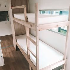 Get inspiration for your caravan bunk beds with this great collection of bunk beds fitted into these caravan renovations; Caravan Bunk Beds, Rv Bunk Beds, Diy Caravan, Bunk Bed Ladder, Airstream Interior, Vintage Airstream, Campervan Interior, Vintage Campers, Caravan Renovation Diy