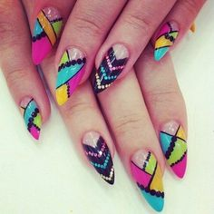 Summer is coming, crazy idea for your summer nails I love the colors not the shape