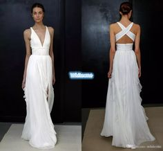 2017 Sheath Wedding Dresses For Greek Goddess Simple Brides Wear Sale Cheap Long Pleated Split Full Length Skirt Bohemian Boho Bridal Gowns Bridal Dress Stores Cheap Bridal Dresses From Whiteone, $119.86| Dhgate.Com
