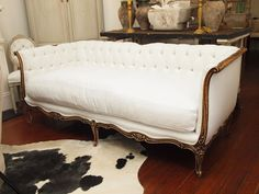French Sofa With Wood Curvature Vintage Powder Room Decor