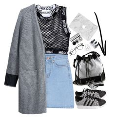 """Без названия #318"" by alekshine ❤ liked on Polyvore featuring Moschino, adidas, rag & bone/JEAN, Carianne Moore, Happy Plugs, Bobbi Brown Cosmetics and Topshop"