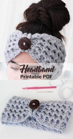 Make a cozy headband. headband crochet pattern- ear warmer crochet pattern pdf -… Make a cozy headband. Bonnet Crochet, Crochet Cap, Crochet Beanie, Cute Crochet, Crochet Crafts, Crochet Stitch, Crochet Ear Warmer Pattern, Crochet Headband Pattern, Knitted Headband
