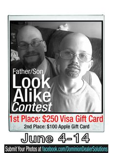 Check out our Father/Son Look-A-Like Facebook Sweepstakes and participate June 4th-14th!